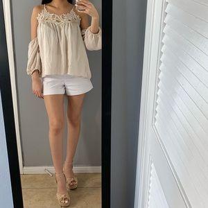 Cream lace off the shoulder blouse